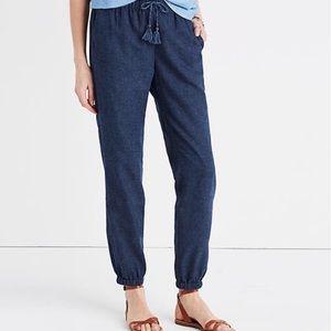 Madewell Shorewalk Linen Mix Pants Tassel Jogger L
